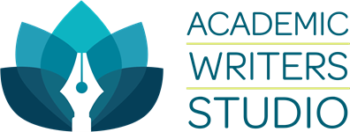 Academic Writers Studio logo with lotus and ink pen
